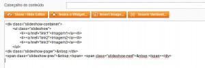 tela de conetúdo com o código do slideshow