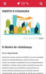 Página de artigos no mobile